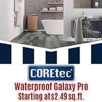 Coretec logo  Waterproof Galaxy Pro  Starting at $2.49 sq.ft.