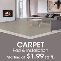 Save on Carpet, Pad & Installation starting at $1.99 sq.ft. this month at Floors 55 in Portland and Oregon City!