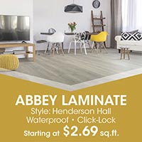 Waterproof and click-lock Abbey laminate on sale starting at $2.69 sq.ft. this month at Floors 55 in Portland and Oregon City.