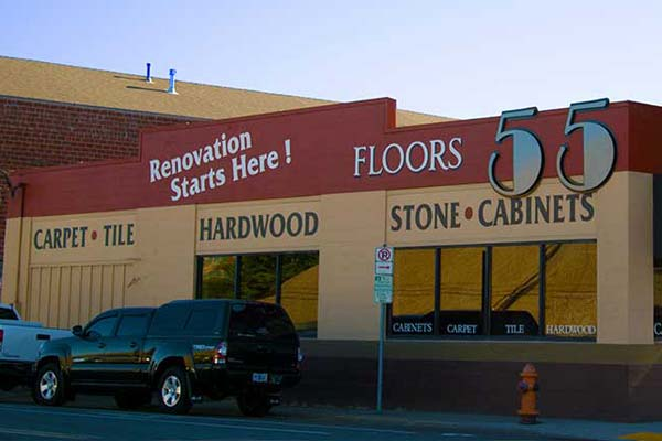 Visit Floors 55 showroom in Portland for Carpet, Hardwood Floors, Tile, Stone, Laminate Flooring, Cabinets, and Countertops