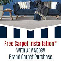 Free Carpet Installation with any Abbey brand carpet purchase this month at Floors 55 in Portland and Oregon City.