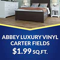 Abbey luxury vinyl Carter Fields waterpoof, floating-click flooring only $1.99 square foot.