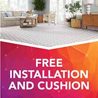 Free installation and cushion with any Stainmaster or Infinity carpet purchase during our Gold Tag Flooring Sale