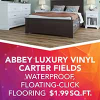 Abbey luxury vinyl on sale during our Gold Tag Flooring Sale at Floors 55. Carter Fields vinyl is waterproof, floating-click flrooing.
