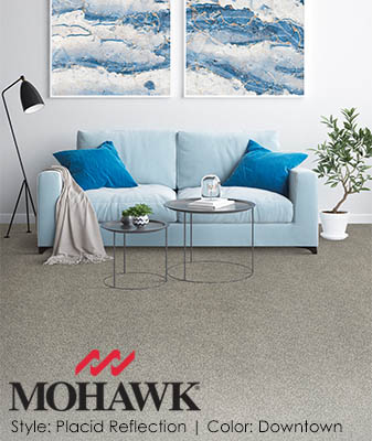 Mohawk Placid Reflection Downtown Living Room Carpet Roomscene